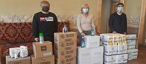 Il sindaco Cerini accoglie mascherine e materiale per la sanificazione